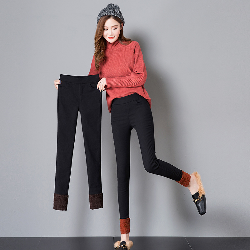 Women's Autumn & Winter Plus Velvet Thick Black Long Pants 2019 New Style Versatile Slimming Fashion Pencil Base Outer Wear