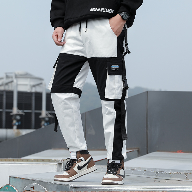 Young Men Streetwear Spliced Harem Pants Men Elastic Waist Punk Pants With Ribbons Casual Slim Jogger Pants Men Hip Hop Trousers