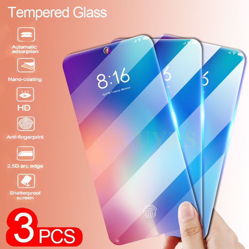 3Pcs Protective Glass For Xiaomi Mi 9 8 SE 8 Lite Temepred Glass on The For Mi 9 9T Pro A2 lite A1 Pocophone F1 MAX 3 2 Glass-in Phone Screen Protectors from Cellphones & Telecommunications