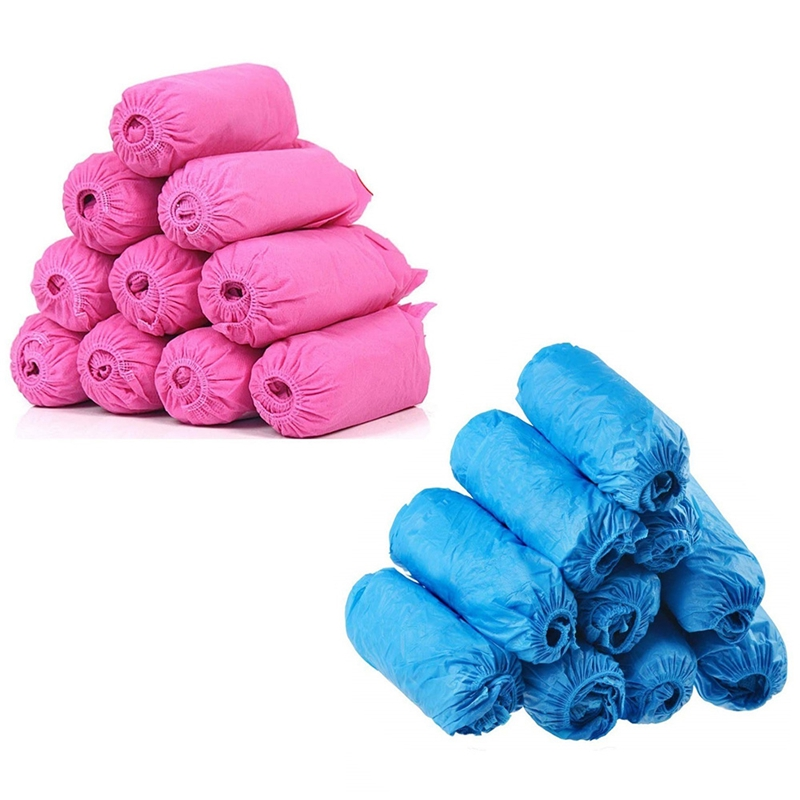 ASDS-200 Pack Disposable Boot Shoe Covers,Non-Slip Shoe Booties,Thick Shoe Cover For Carpet Floor Usage Workplace(Blue+Pink)