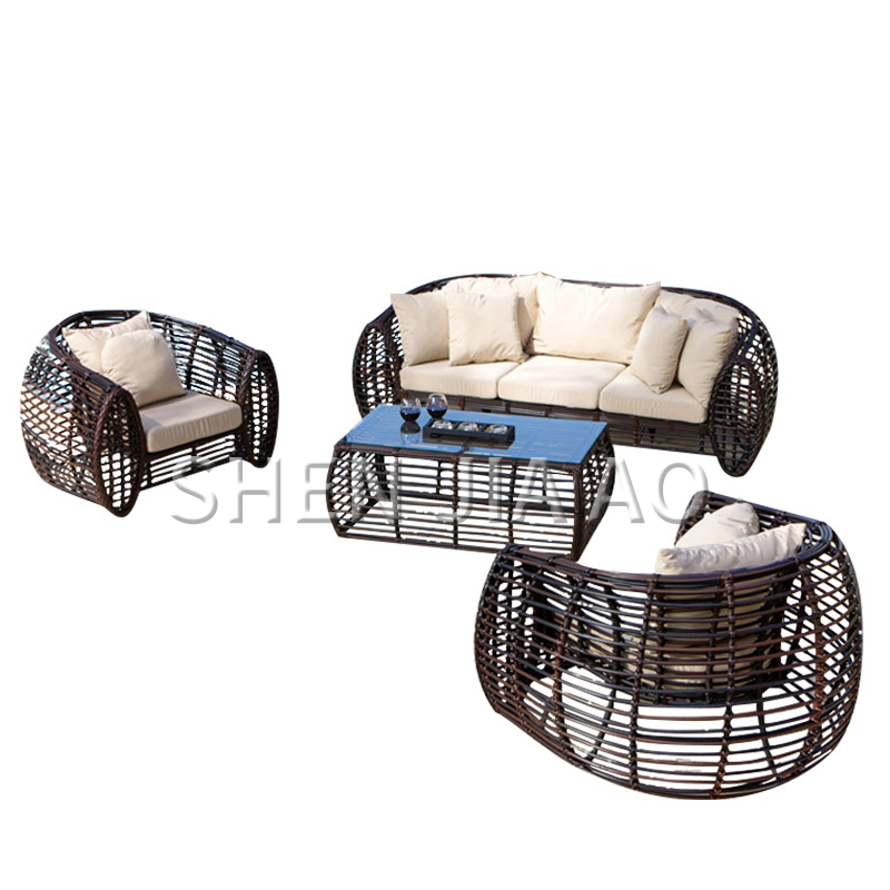 Outdoor Patio Leisure Three People Sofa Balcony Coffee Cane Chair Sofa Cafe Imitation Rattan Living Room Reception Rattan Sofa