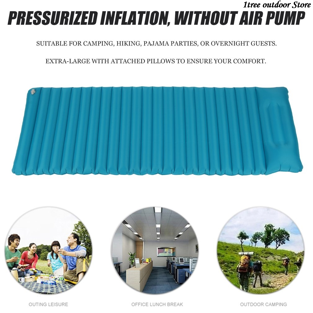 Inflatable Mattress With Attached Pillows Durable Airbed Camping Air Mattress