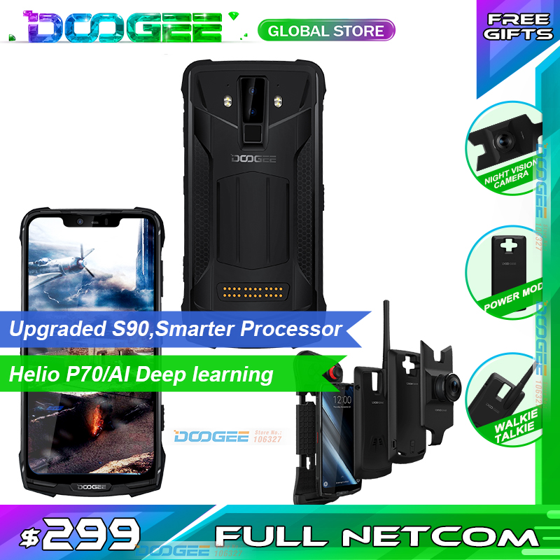 """Doogee S90 Pro Modular Rugged Mobile Phone IP68 Helio P70 6.18"""" Display Octa Core 6GB 128GB 16MP+8MP Android 9 12V2A SmartphoneCellphones   -"""