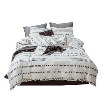 2/3Pcs/set White Fringed Tassel Duvet Cover Set Cotton Comforter Bedding Set US EU Sizes NO SHEET