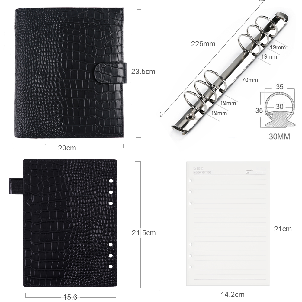 Moterm Luxe A5 Rings Planner with 30 mm Rings Binder Agenda Floppy Version Croc Grain Organizer Diary Journal Notepad Sketchbook 2