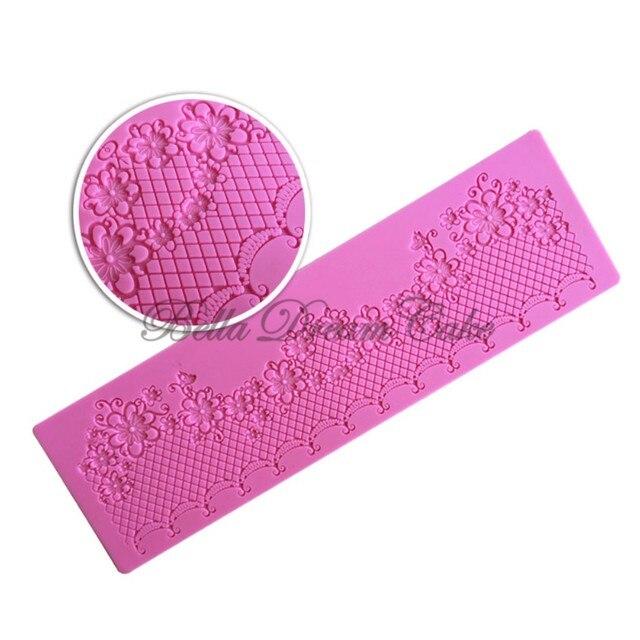 Фото силиконовый кружевной коврик в форме цветка кондитерская рамка