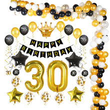 Black Gold 30 40 50 Disposable Party Tableware Happy Birthday Party Decorations Adult 30 Years Party Decorations Supplies(China)