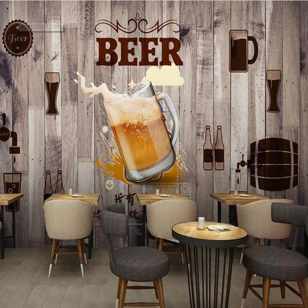 Milofi Custom Large 3D Wallpaper Mural Wood Beer Decorative Painting Background Wall Decorative Mural Wallpaper
