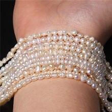 2-4mm pérola natural fina grânulos branco 100% de água doce pérola perfurador contas para fazer jóias diy pulseira colar 14