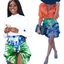 Short Skirt Waist Streetwear Irregular-Style Print Bodycon Fashion Women Bow Hiigh Tie-Dye