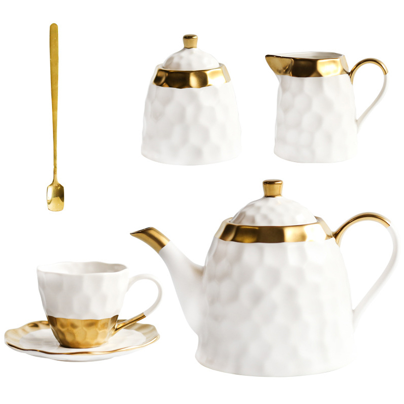 Ceramic Coffee Cup Set Simple Afternoon Teacup Tea Set with European Light Luxury Household Water Cup Teapot for Drinkware