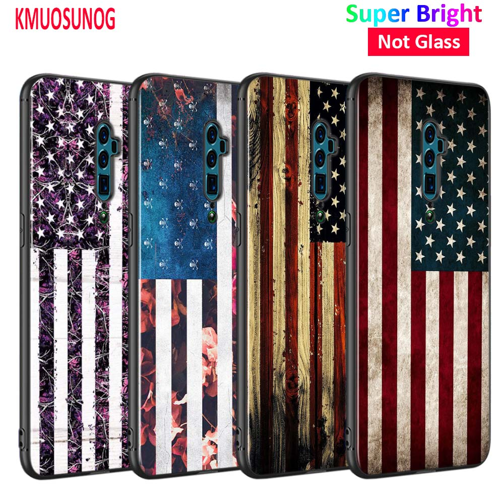 Silicone Phone Bag For OPPO F5 F7 F9 A5 A7 R9S R15 R17 Black Soft Case Blue American Flag Style