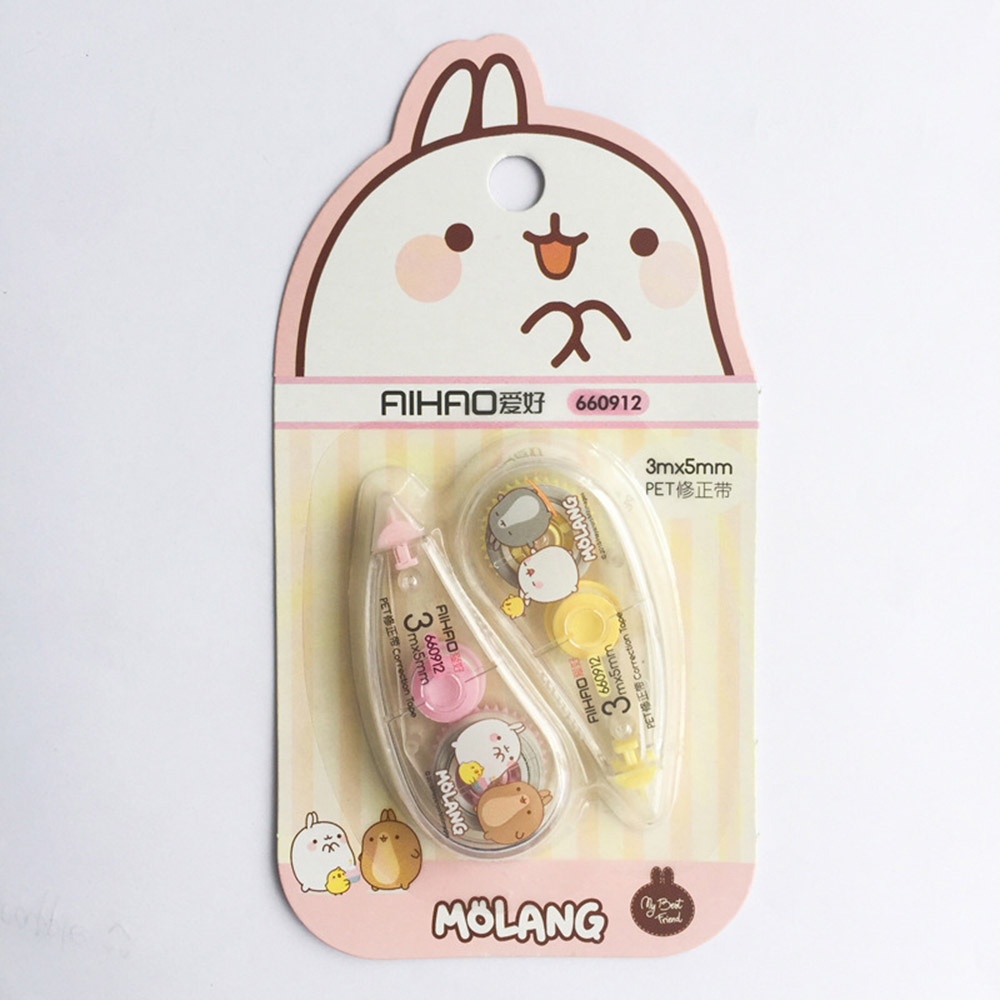 2 Pcs/pack Cute Creative Happy Rabbit Press Type Practical Correction Tape Diary Stationery School Office Supplies For Kids Gift