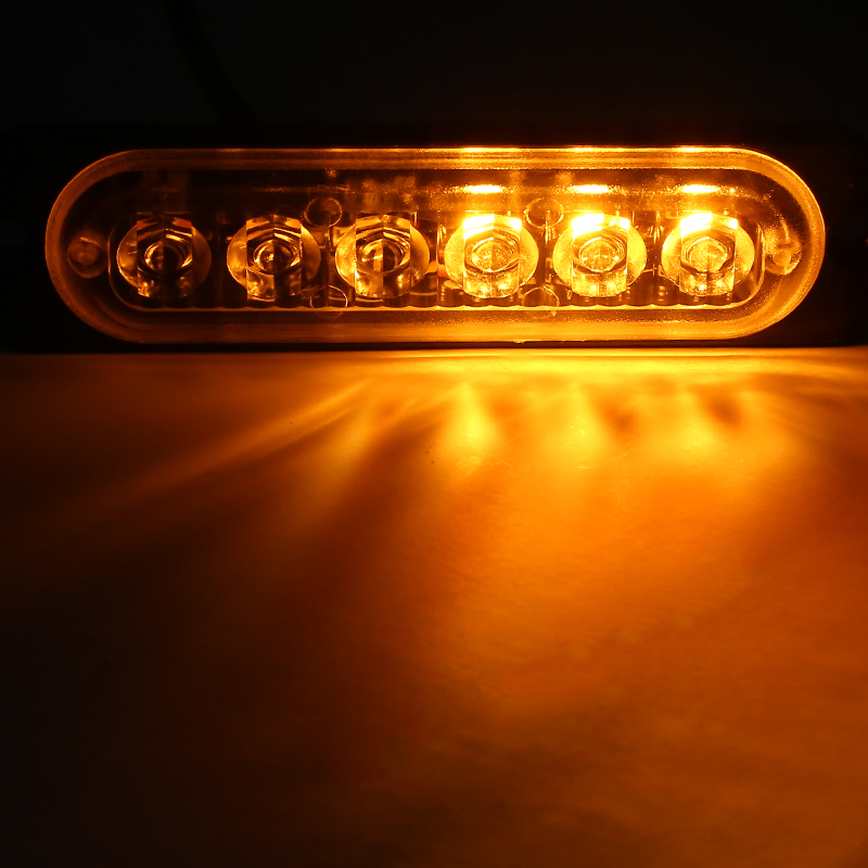 Mayitr 10pcs Amber 6LED Emergency Hazard Warning Beacon Flash Strobe Light DC 12-24V 18 Flashing Modes Turn Signal Lamp