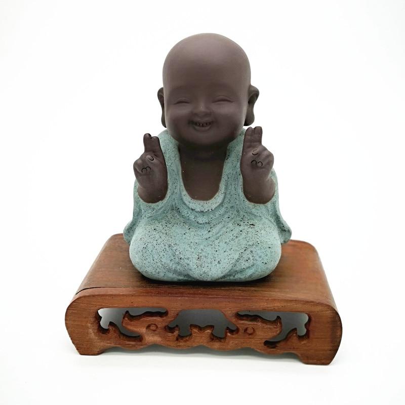 Image 5 - Buddha statues small monk color sand ceramic home club geomantic decoration Purple Sand Figurines Tea PetStatues & Sculptures   -