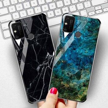 Перейти на Алиэкспресс и купить Чехол с мраморным камнем для Huawei Honor 9A, чехлы из закаленного стекла для Honor 30 Pro Plus 9C 9S X10 20 30s Y5p Y7p Y8p P40 P30 lite, чехлы