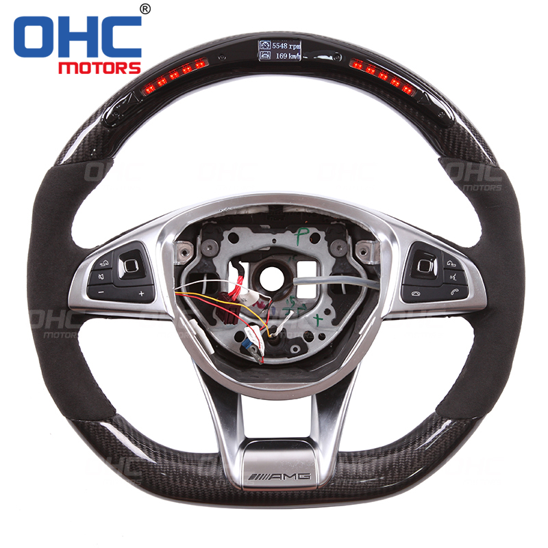 Real Carbon Fiber LED Steering Wheel compatible for Mercedes Benz W205 C63 W213X156LED Performance LED Racing Display|Steering Wheels & Steering Wheel Hubs| |  - title=