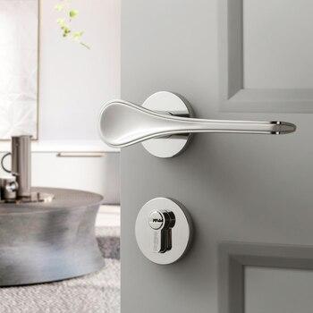 Minimalist Zinc Alloy Door Locks for Solid Wood Interior Doors Spoon Shape Interior Bedroom Door Handle Pull Set Two Colors