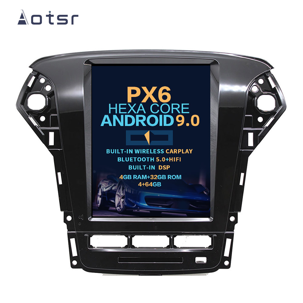 AOTSR <font><b>Android</b></font> 9 <font><b>Car</b></font> Radio For <font><b>Ford</b></font> Fusion <font><b>Mondeo</b></font> MK4 2011 2012 2013 Multimedia Player <font><b>GPS</b></font> <font><b>Navigation</b></font> DSP CarPlay PX6 Autoradio image