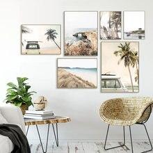 Poster moderno impressão pôr-do-sol coconut surfboard carro pintura da arte da lona seascape decoração da parede