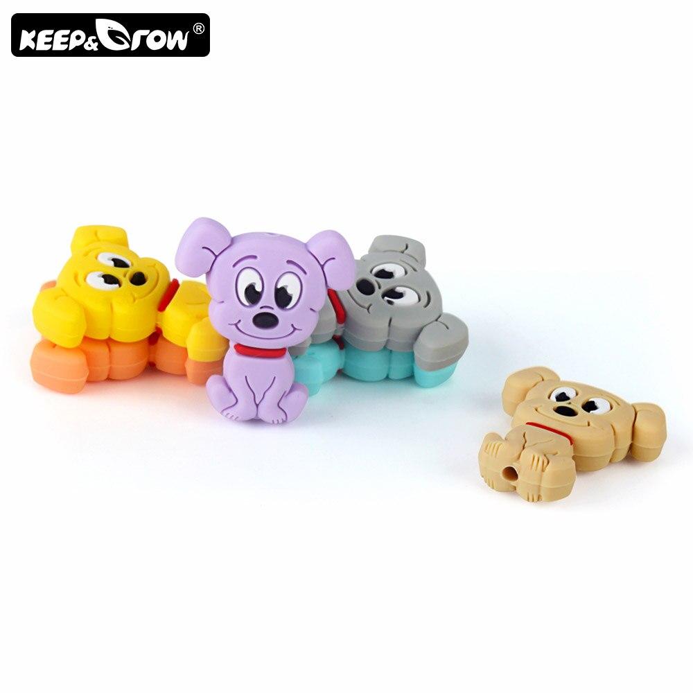 Keep&Grow 5pcs Cute Cartoon Dog Silicone Beads Food Grade Baby Teethers Silicone Teething Beads DIY Teething Toys Accessories