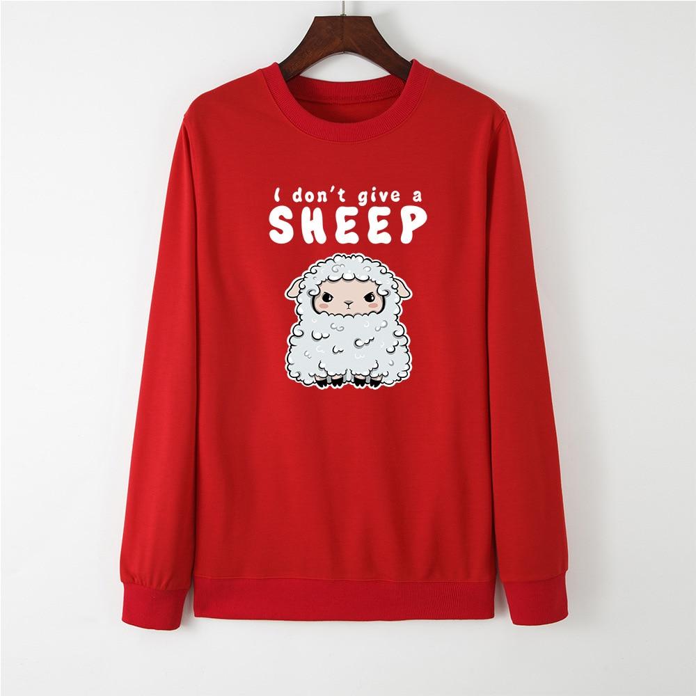 JFUNCY Women Hoodie Pullover Streetwear Female Casual Girls Pullovers Cute Sheep Print Sweatshirt New Spring Hoodies Tops