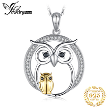 цена JPalace Owl Natural Black Spinel Pendant Necklace 925 Sterling Silver Gemstones Choker Statement Necklace Women Without Chain онлайн в 2017 году