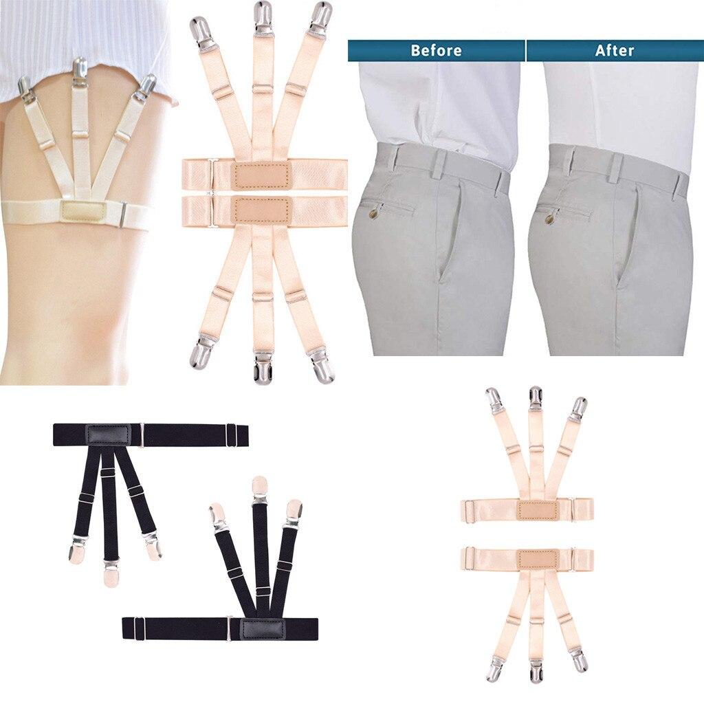 Fashion Suspenders Garter Style Shirt Stays Solid Bts . Adjustable Elastic Braces Shirt Garters Locking Non-Slip Clips Jartiyer