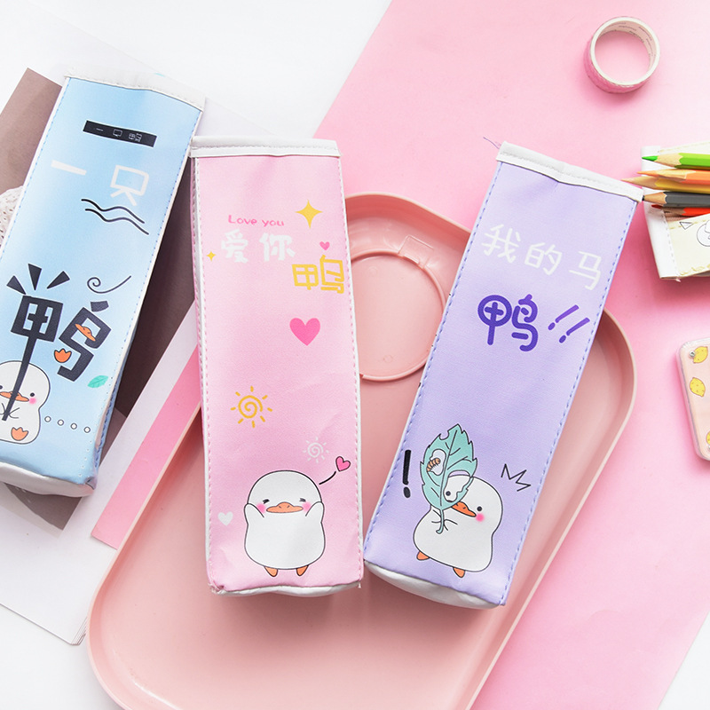 Cute Korea Pencil Case School Pencil Case For Girls Boys Leather Milk Pen Box Pencilcase Stationery Bag School Supplies in Pencil Cases from Office School Supplies