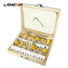 LAMEZIA 12pcs/set 8mm Handle Woodworking Milling Cutter Set Edge Trimming Chamfer Knife Machine Drilling Bit Kit
