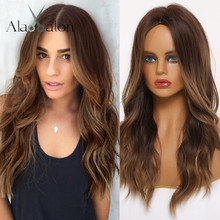 ALAN EATON Middle Part Synthetic Wigs Ombre Black Brown Honey Wig with Highlights Long Wavy Wig for Black Women African American