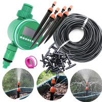 25m Misting Sprinkler Dripper With Water Timer DIY Micro Drip Irrigation Plant Self Watering Garden Water Irrigation Kits E241E