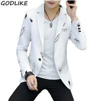 White/Black/Purple/Blue Print Blazer 2019 New Arrival Mens Slim Fit Casual Single buckle Printed Suit Coats Male Blazer Jacket