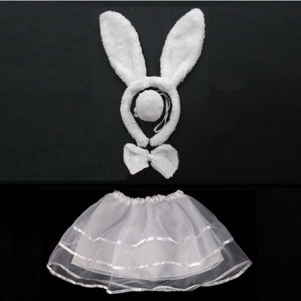 Kids Girls Bunny Ears Animal Headband Bow Tie Tail Rabbit Cosplay Costume Hair Skirt Tutu Halloween Carnival Birthday Party Gift