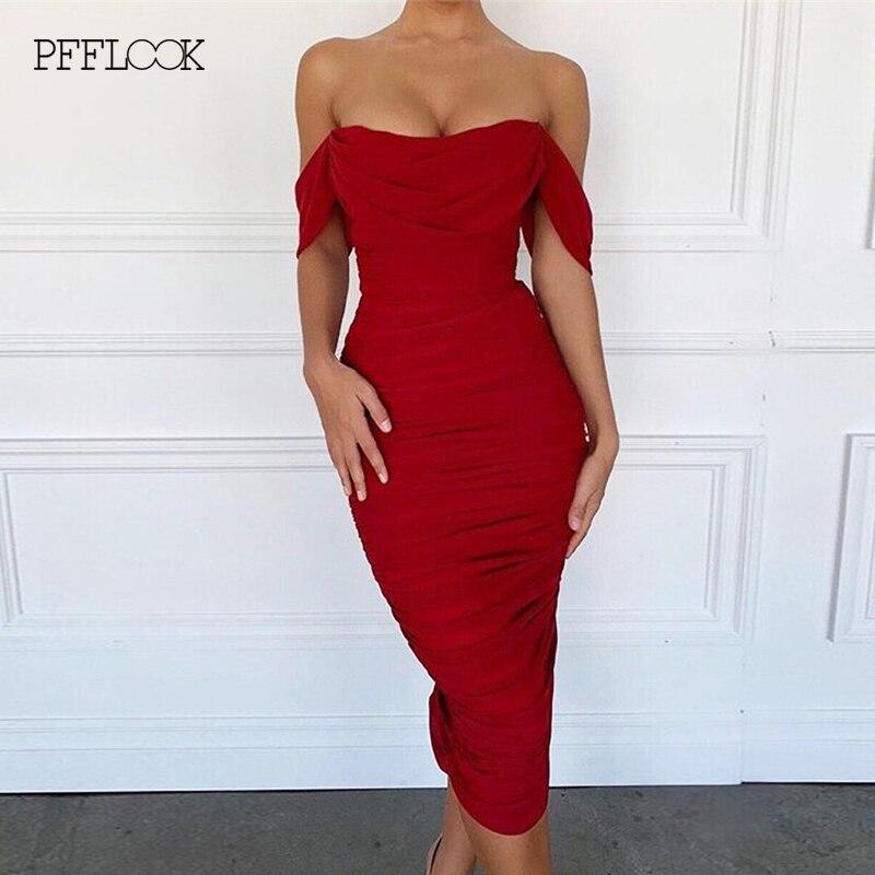 PFFLOOK 2019 осенние вечерние платья красного цвета с рюшами, женское сексуальное длинное облегающее платье с открытыми плечами для ночного клуб...