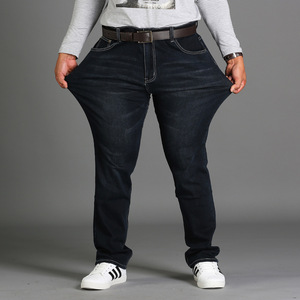 Image 3 - אביב עונה loose גדול גודל מכנסיים מכנסיים שחור בתוספת גודל XL למתוח ג ינס גברים של קיץ דק סעיף 48 46 44 42 40 38