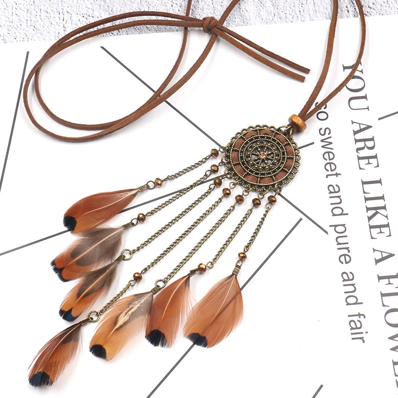 H4af8611284994a439e102f56d422c2f6f - Women Bohemian Ethnic Long Chain Feather Pendant Dreamcatcher Necklace Choker Boho Clothing Jewelry Accessories