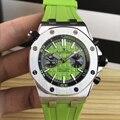 Marca de luxo novos homens cronômetro vidro safira voltar ver através prata verde borracha cronógrafo aço inoxidável relógio aaa +
