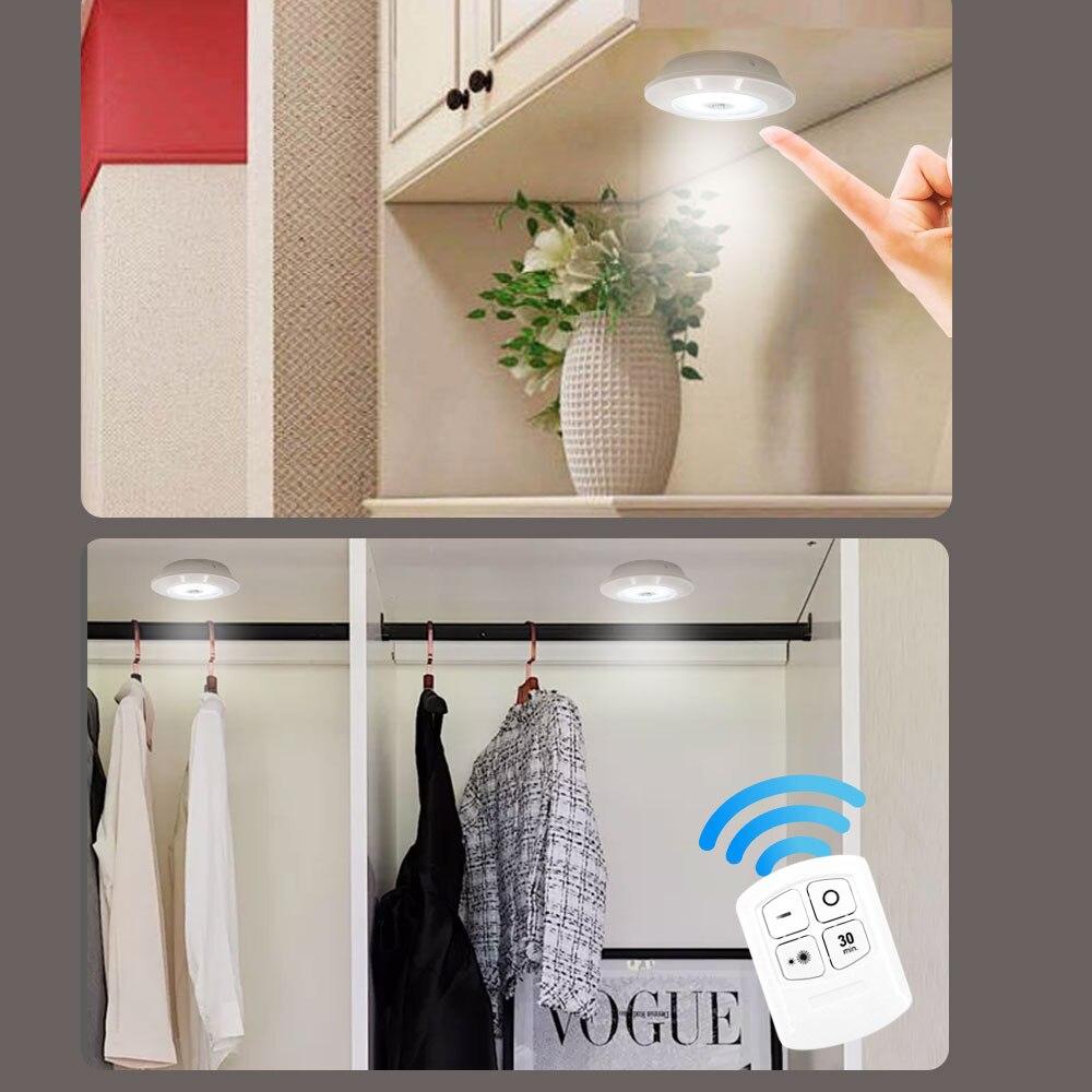 3W Super Heldere Cob Onder Kast Licht Led Draadloze Afstandsbediening Dimbare Garderobe Night Lamp Home Slaapkamer Kast Keuken 6