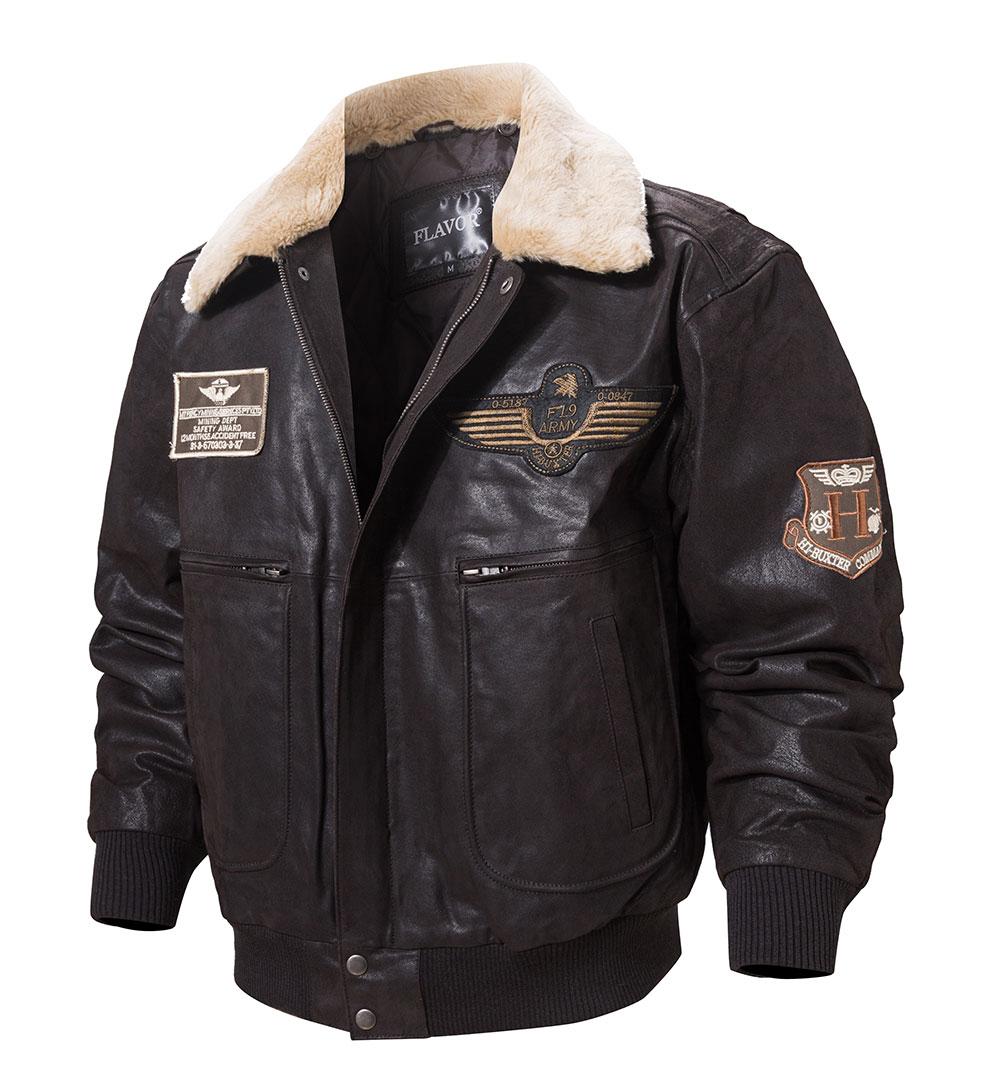 H4af88479c92f4e90ab90d64bfe57662cn FLAVOR New Men's Real Leather Bomber Jacket with Removable Fur Collar Genuine Leather Pigskin Jackets Winter Warm Coat Men