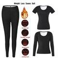 Frauen Nahtlose Sauna Anzüge Sweat Shirts Mädchen Körper Former Taille Trainer Abnehmen Lange Hosen Fitness Ladys Leggings Shapewear Sets