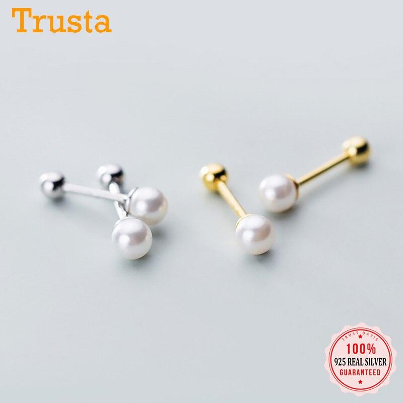 Trustdavis Real 925 en argent Sterling breloque Min perles de perles vis boucles doreilles pour les femmes fête de mariage Fine S925 bijoux DA1621