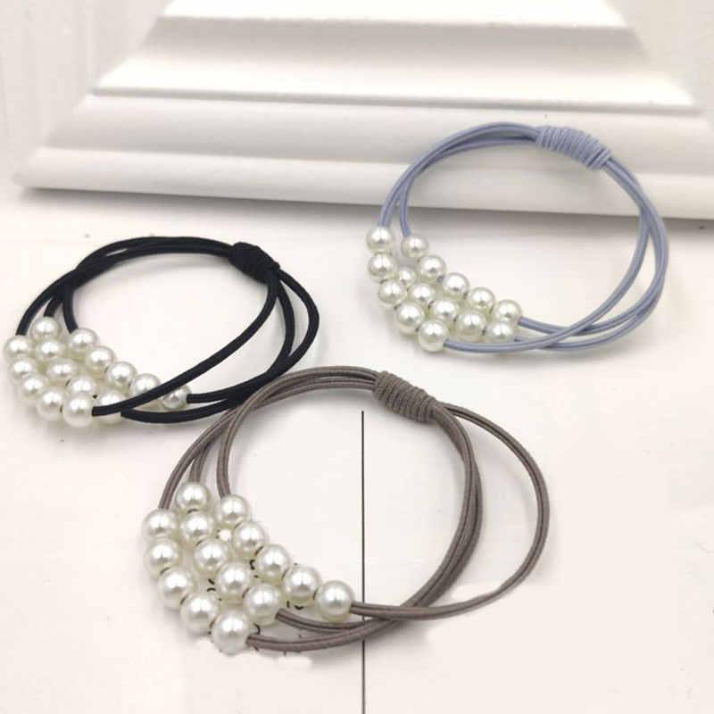 Hot Fashion Parel Hoge Elastische Haarbanden Voor Meisjes Multilayer Knoop Haar Ring Paardenstaart Rubber Band Vrouwen Zoete Haaraccessoires