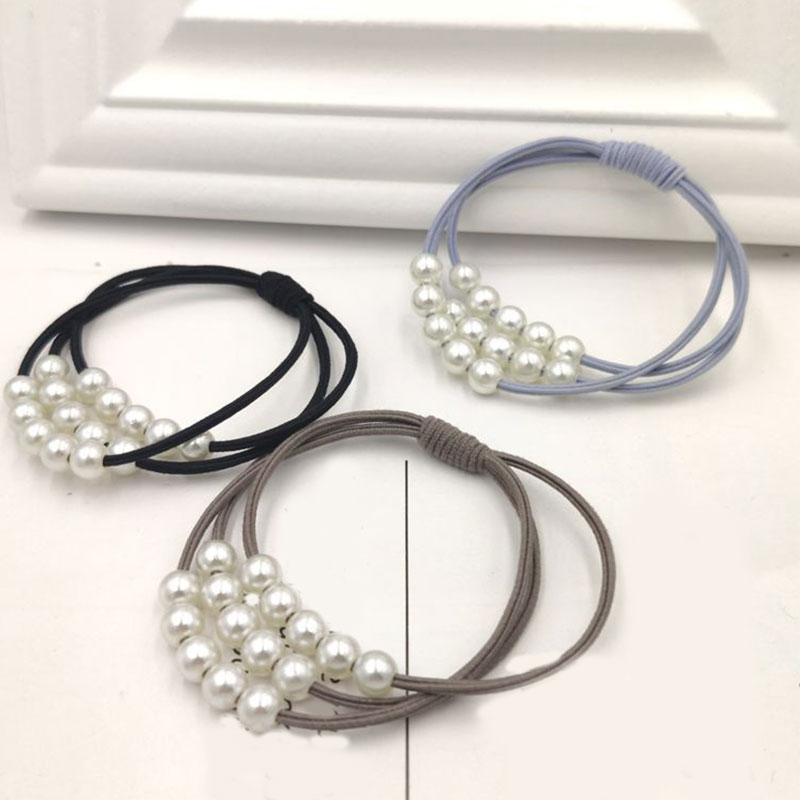 Hot Fashion Pearl High Elastic Hair Bands For Girls Multilayer Knot Hair Ring Ponytail Rubber Band Women Sweet Hair Accessories
