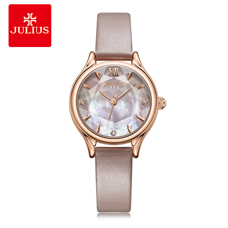 Julius Brand Women Quartz Wristwatch Simple Leather Watch Shell Texture Watches Fashion Students Mother Of Pearl Dial Watch