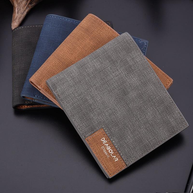 Men Wallet Short  PU Leather Luxury  Slim Cute Card Front Pocket Thin Mini Purse Wallet  Money Clip