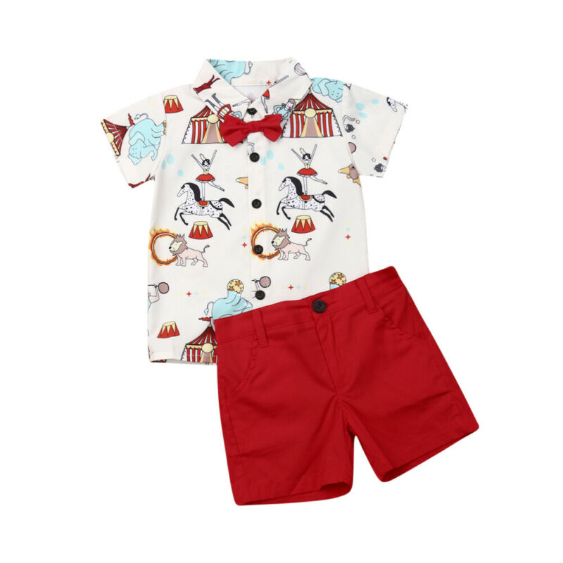 Детский комплект одежды джентльмена из 2 предметов, повседневная одежда для маленьких мальчиков, топ с бантом и мультяшным принтом цирка + ш...