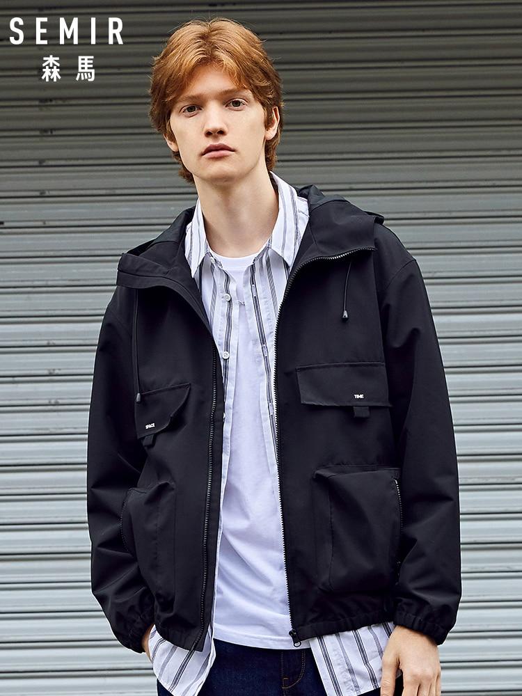 SEMIR Jacket Men 2020 Spring New Tooling Hooded Jacket Black Trendy Blouse Loose Oversize