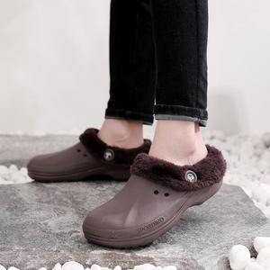 Original rh eco unisex quente inverno pele jardim sapatos tamancos indoor casual casa quente chinelos eva plana tamancos calçados