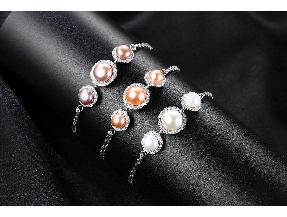 S925 bracelet en argent sterling micro-ensemble 3A zircon perle d'eau douce bijoux de mode